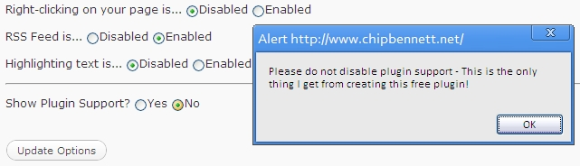 nag dialogue displayed when user attempts to disable wp_footer links in JR Protection plugin