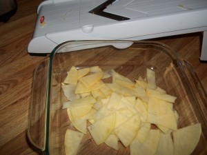 Rutabaga Quartered and Mandolin-Sliced